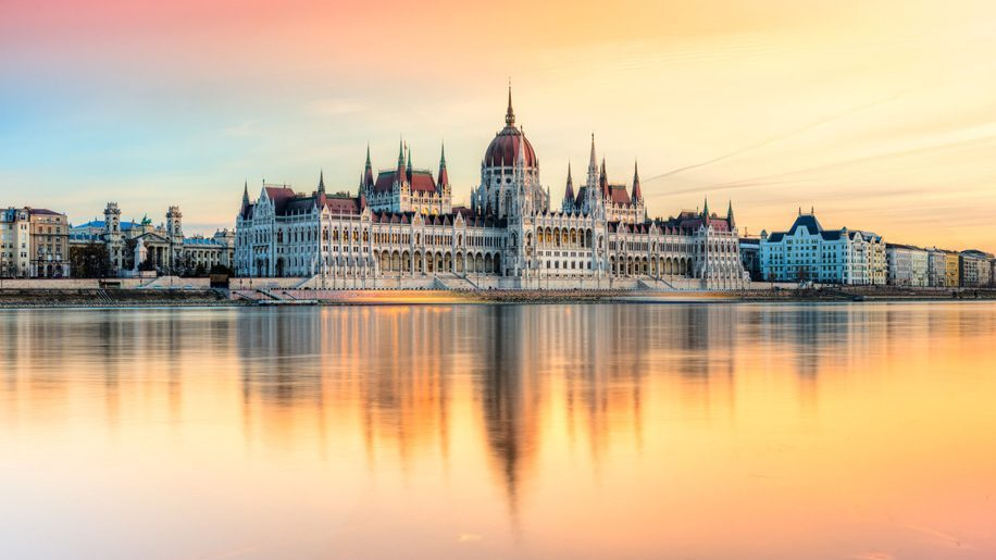 budapest january sunset