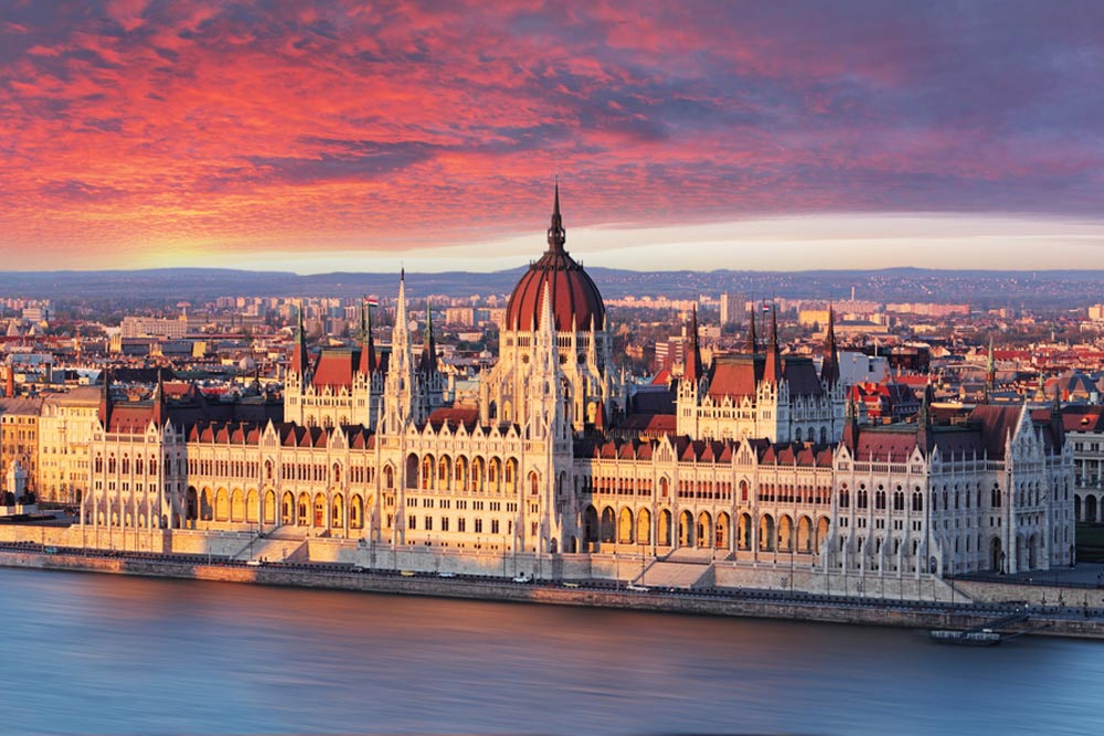 Hungarian parliament in sunset in budapest