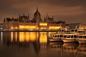 sunset time in Budapest in December